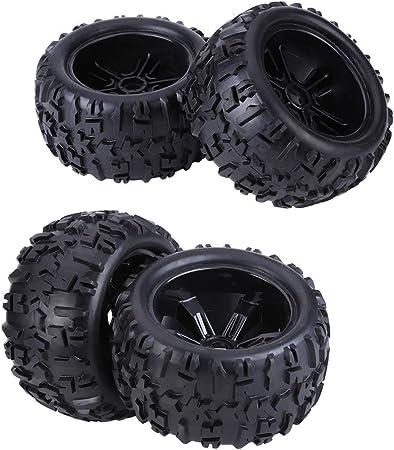 Alomejor Neumáticos de coche RC, neumáticos de goma de coche RC con bujes llantas y neumáticos para HSP/Louise/TRAXXAS/HPI/Savage/Flux/ZD Racing/TM