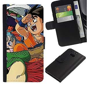NEECELL GIFT forCITY // Billetera de cuero Caso Cubierta de protección Carcasa / Leather Wallet Case for HTC One M8 // Dragnball Z
