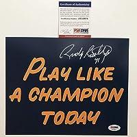 $54 » Autographed/Signed Rudy Ruettiger Play Like A Champion Today Notre Dame Irish 8x10 Football Photo PSA/DNA COA