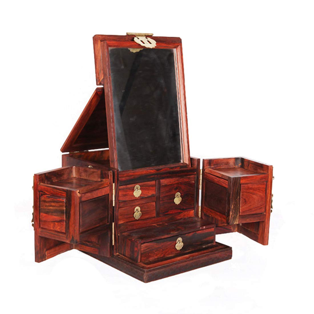 FELICIAAA 大規模な赤酸ブランチパールボックス木製の棺ジュエリーボックスミラーボックス (Color : Wood) B07NW65DW5 Wood
