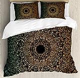 Gold Mandala King Size Duvet Cover Set by Ambesonne, Spiritual Ritual Symbol Kaleidoscopic Universe Meditation Balance, Decorative 3 Piece Bedding Set with 2 Pillow Shams, Fern Green Gold Black