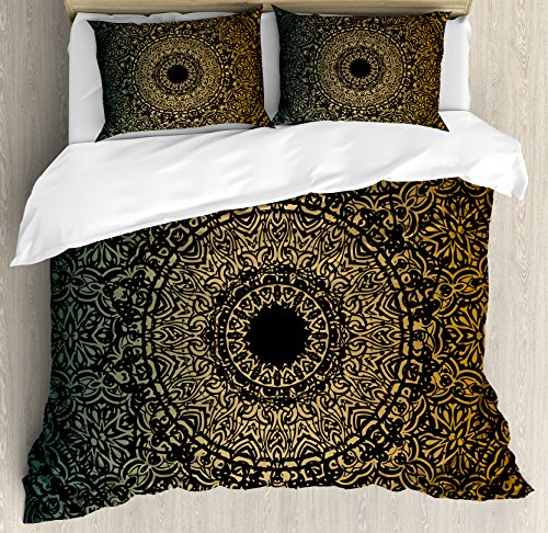 Gold Mandala King Size Duvet Cover Set by Ambesonne, Spiritual Ritual Symbol Kaleidoscopic Universe Meditation Balance, Decorative 3 Piece Bedding Set with 2 Pillow Shams, Fern Green Gold Black by Ambesonne