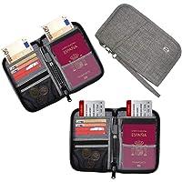 HOPAI Cartera de Pasaporte, Portadocumentos Viajes Organizador con Bloqueo de RFID Porta Pasaporte Familiares Billetera de Pasaporte para Dinero Móvil Billetes, Tarjeta de Crédito