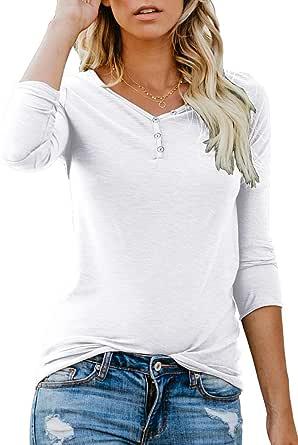 ANIXAY Women's Short/Long Sleeve Henley Button up T Shirt Casual Basic Tops Blouse