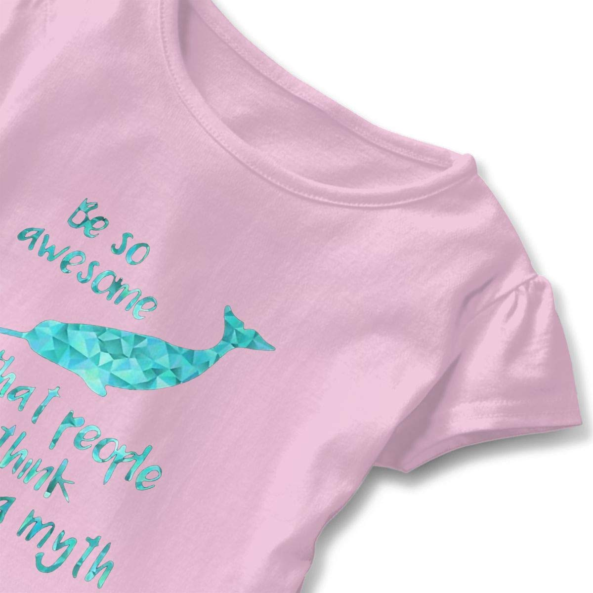 Low Poly You Re Myth Premium Narwhal Toddler Baby Girls Short Sleeve ONeck Basic Shirts with Printed Designs in Front for School Birthday Party Gifts Ruffles Top Pink