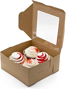 35 Pack Cupcake Boxes With Inserts Holder & Window - Holds 4 Cupcakes. Includes Ribbon, Twine, & Stickers.6.3x6.3x3in Brown Food Grade Kraft Box for Pastry, Cookie, Muffins, Cupcakes, & Small Cake Box