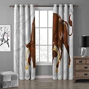 RenteriaDecor Taurus Grommet Curtain Panel, Angry Bull Sign Astrology Darkening Blackout Grommet Window Curtain W72 X L72 Inch