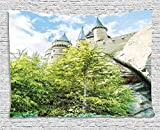 Custom Wizard School of Witchcraft and Castle in Woods and Rocks Sky View Replica in Japan Picture Decor Green Blue and Beige Comfortable Supersoft Throw Fleece Blanket offers