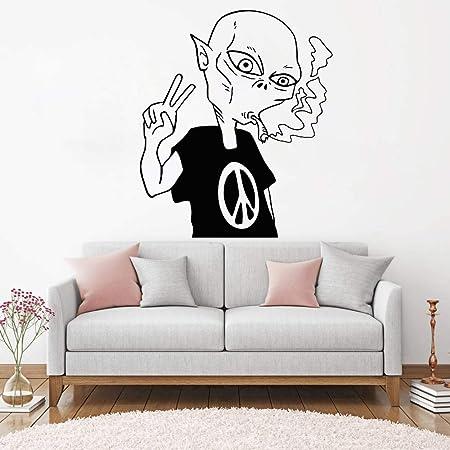 jiuyaomai Alien Peace Love Fumar Pegatinas de Pared UFO E-co Papel ...