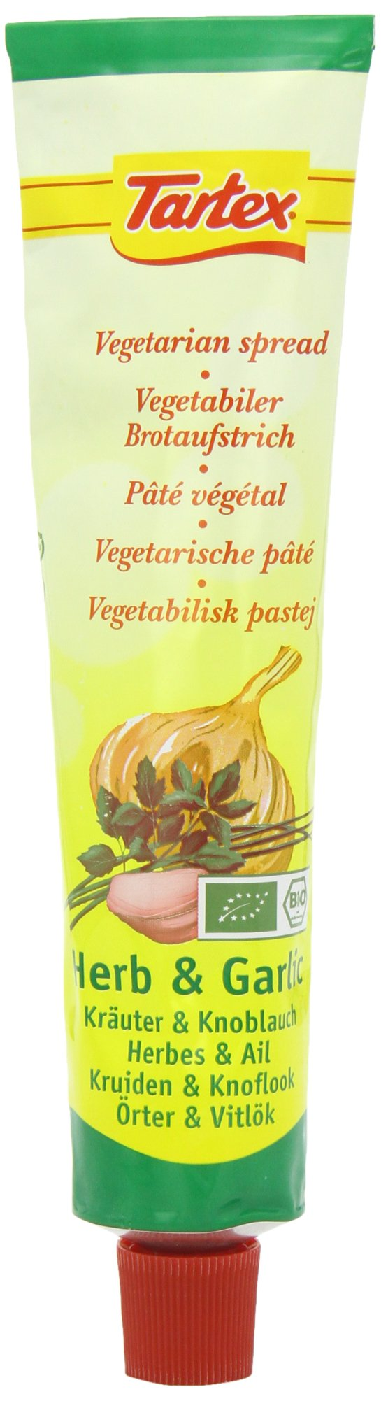 Tartex Organic Herbal and Garlic Pate Tube 200 g (Pack of 4)