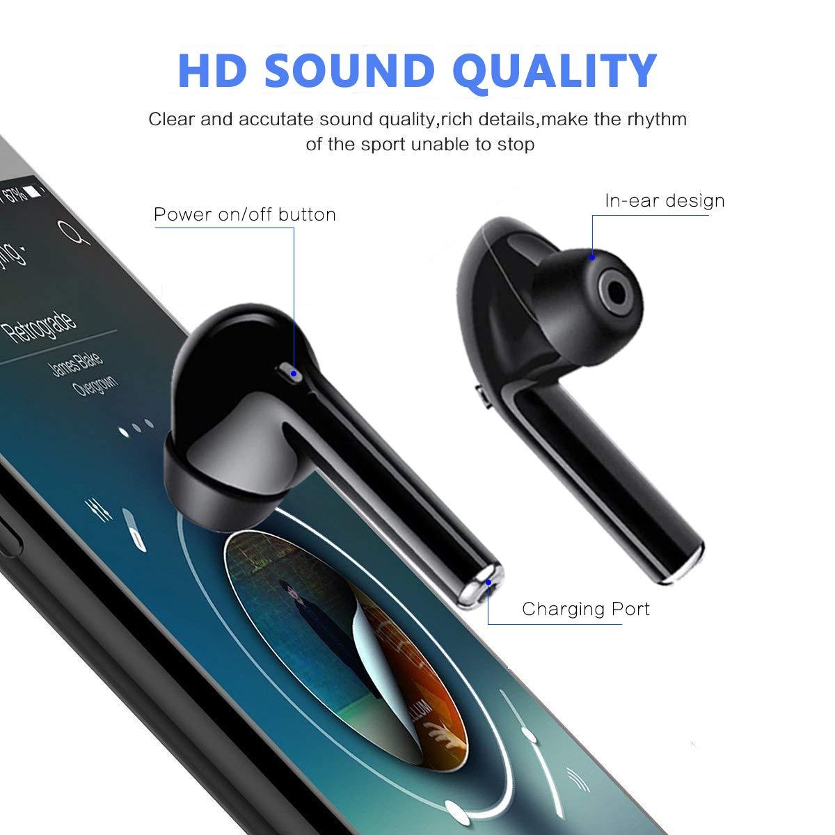 Auricolari Bluetooth 5.0,Salipt Cuffie Bluetooth Auricolari Wireless Stereo Senza Fili Sportivi in Ear con Custodia da Ricarica Microfono Leggeri Hi-Fi Cuffie per Samsung iPhone iPad Huawei Sony HTC