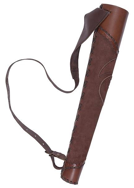Leder Köcher aus braunem Wildleder Pfeil Bogenschütze Mittelalter Wikinger LARP