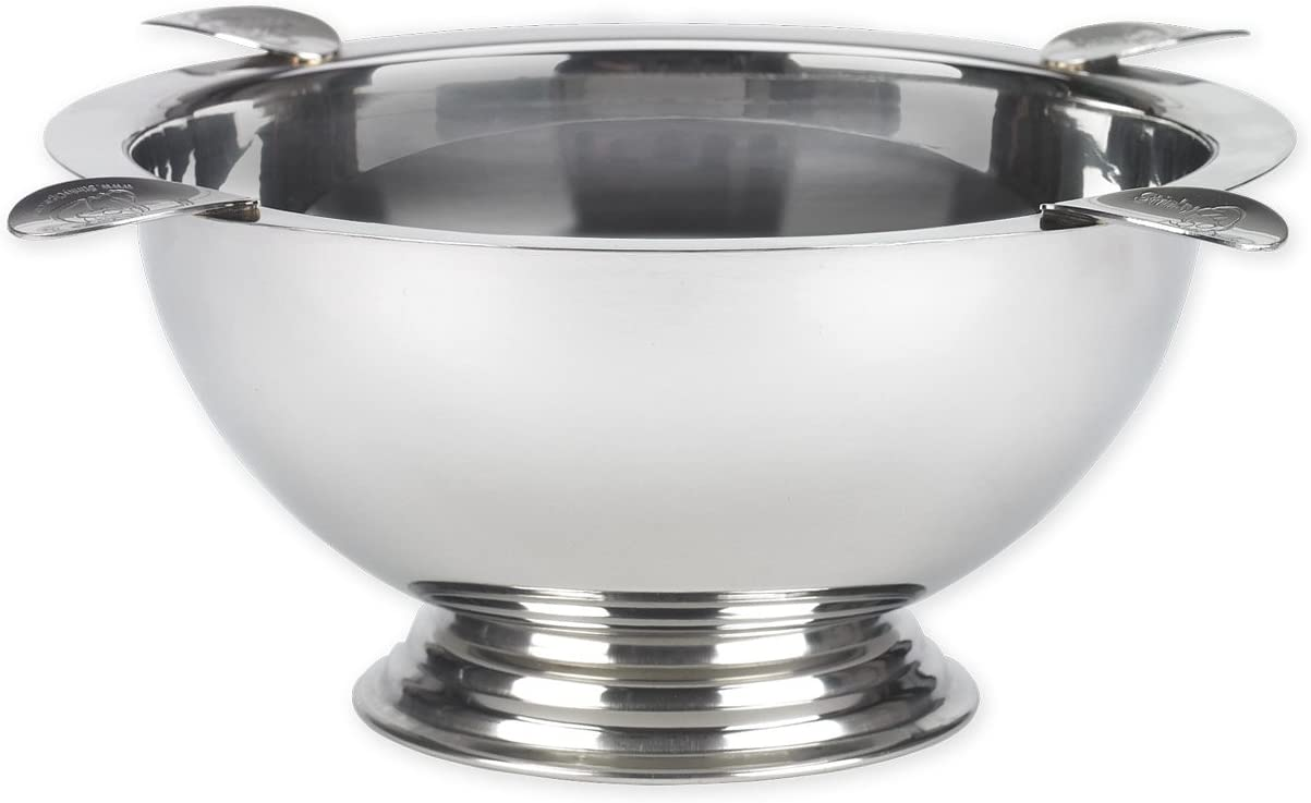 Stinky Cigar Ashtray, Windproof, Deep Bowl Design, 8 Inch Wide, 4 Polished Stainless Steel Stirrups, Known As The Original Ashtray