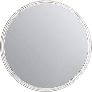 Fetco Round Carved Decorative Mirror, Distressed White