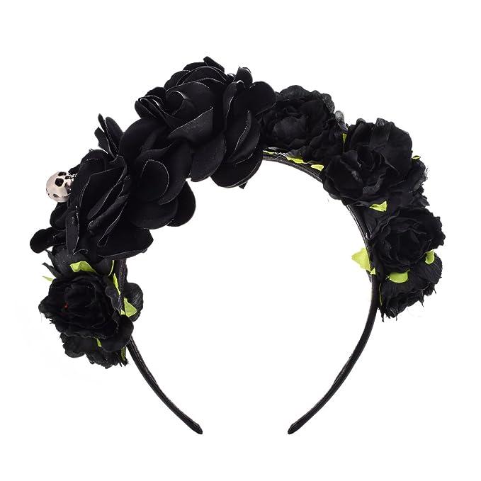 DDazzling Halloween Headband Day of the Dead Headband Floral Headband  Festival wear (Black) bfdd72888d4