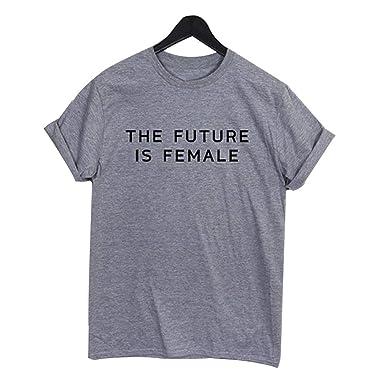 DFGTHRTHRT Future Is Female Unisex Funny Letter Patrón Imprimir Camiseta Feminista Tops Camisa Unisex: Amazon.es: Ropa y accesorios
