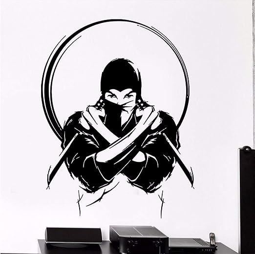 Wmbz Wall Vinyl Vinyl Ninja Con Cuchillo Espada Japonesa ...