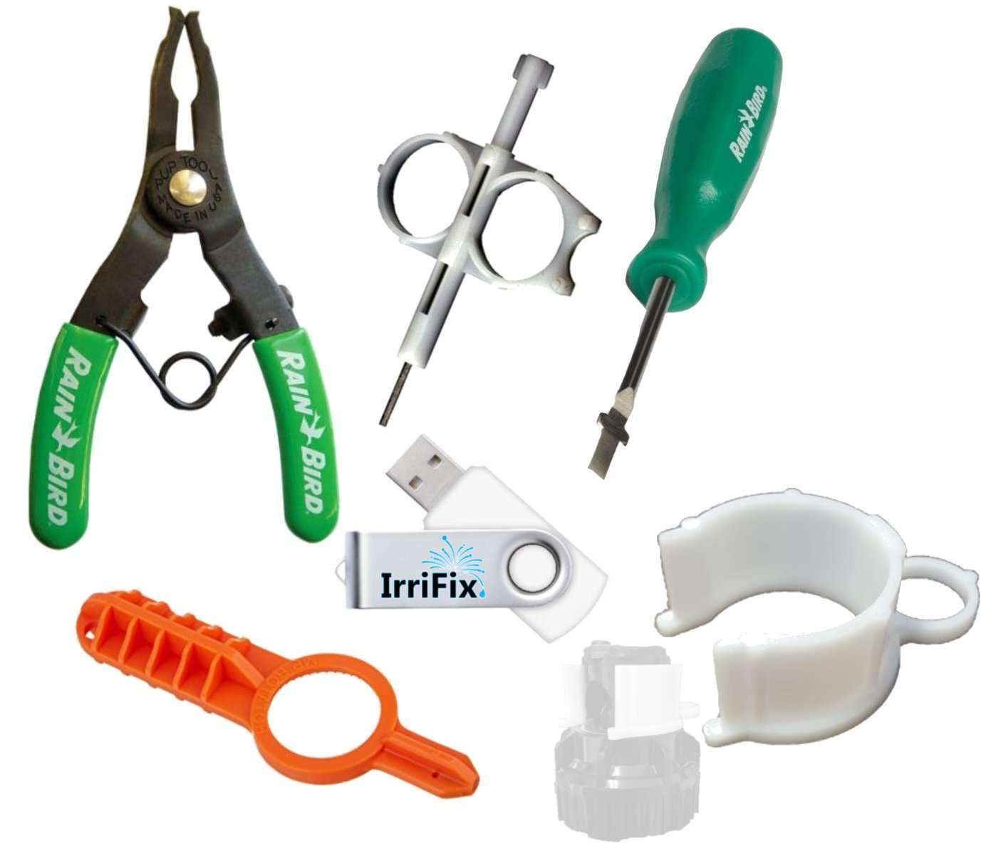 Sprinkler Irrigation Adjustment Tool Set by IrriFix: Rain Bird Spray Head Pull Up Tool, Hunter/Orbit gear drive tool, ROTORTOOL, MP Rotator Tool, Hold Up Collar, IrriFix USB Flash Drive w instructions