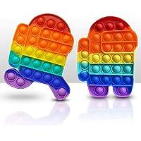 2PCS Push Pop Pop Bubble Sensory Fidget Toy, One Louder Side Push Bubbles Pop, Pop Bubble Sensory Fidget Toy, Last One…