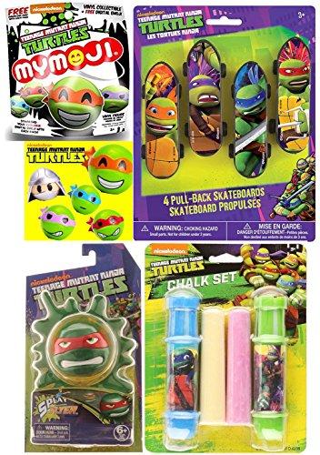 Teenage Mutant Ninja Turtles Mystery Bag Funko Mymoji Action Vinyls + Splat Flyer Game & Sidewalk Chalk - Skateboard Pull-Back Racers 4 Pack - Leonardo / Raphael / Michelangelo / Donatello fun (Stealth Skateboard Deck)