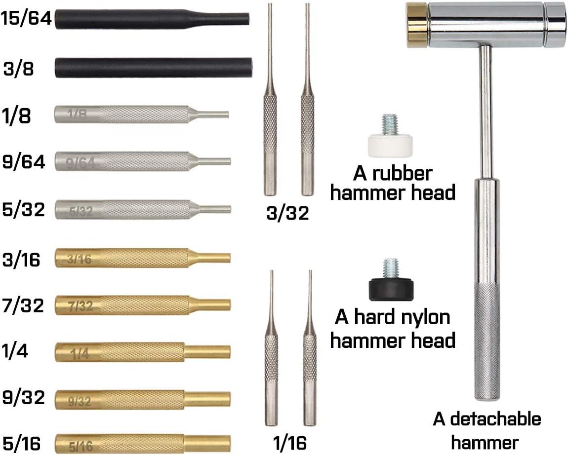 W WIREGEAR Gunsmith Punch Set Hammer and Punch Set Brass Punch Set