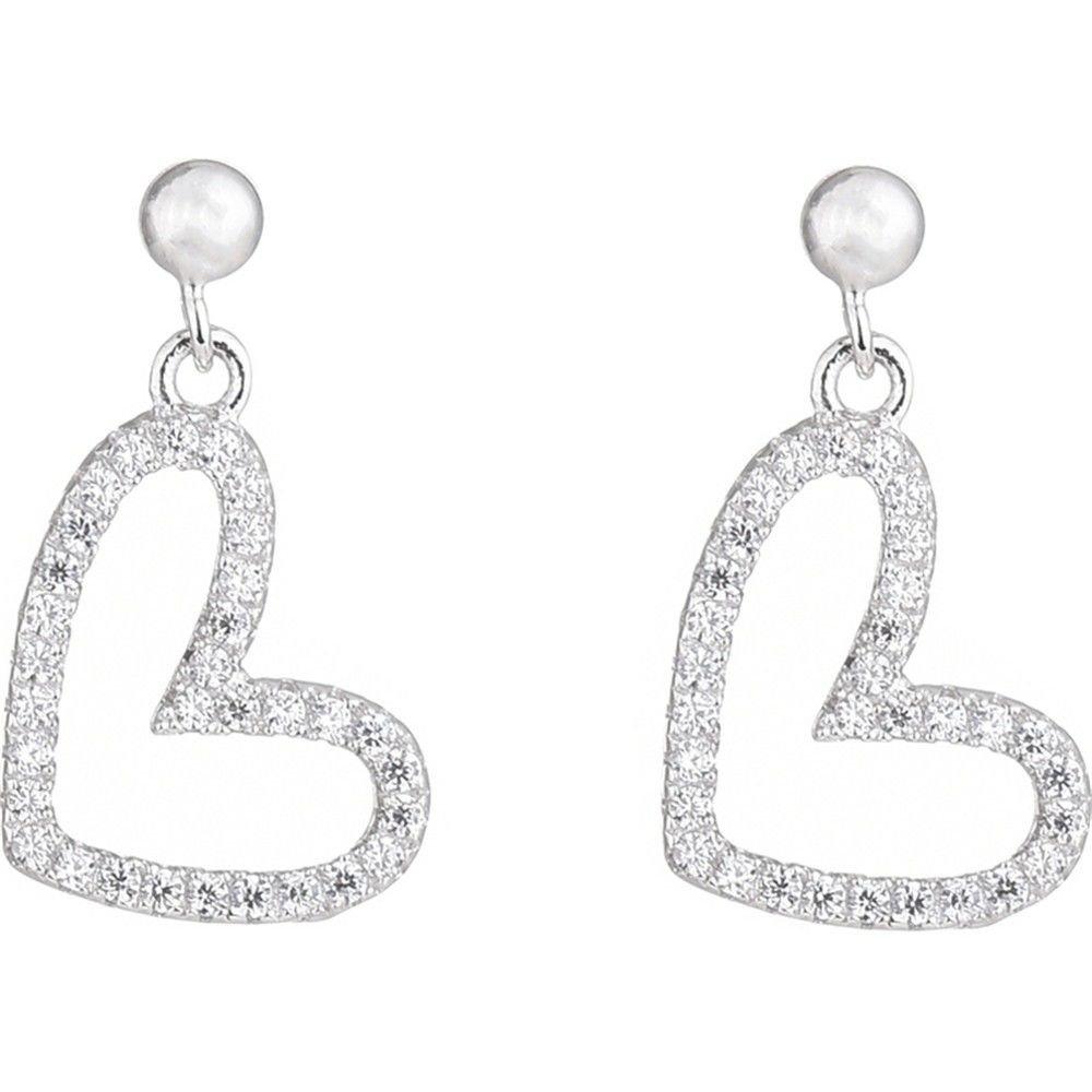 Ling Studs Earrings Hypoallergenic Cartilage Ear Piercing Simple Fashion Earrings Ear Jewelry Love Earrings Heart-Shaped Short Paragraph Simple 925 Sterling Silver