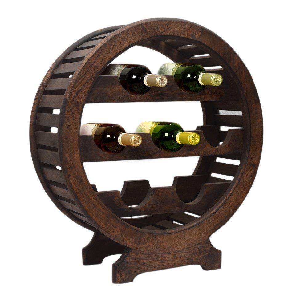 Vintage Style Wooden Wine Rack Stand 7 Bottle Holder with Dark Chestnut Finish Home Bar Organizer Decor