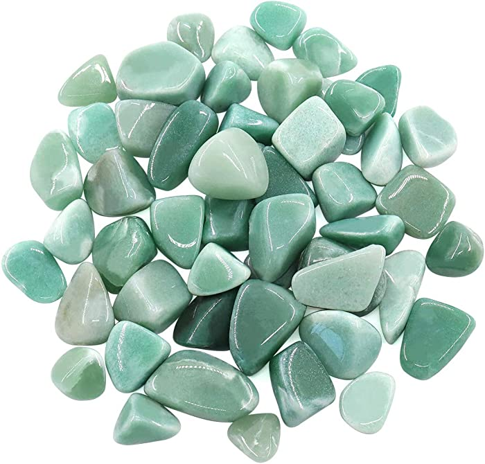 Hilitchi 1lb Bulk Large Natural Tumbled Polished Brazilian Stones Gemstone Healing Crystals Quartz for Wicca, Reiki, and Energy Crystal Healing (Green Aventurine About 1lb/450g/16oz/bag)