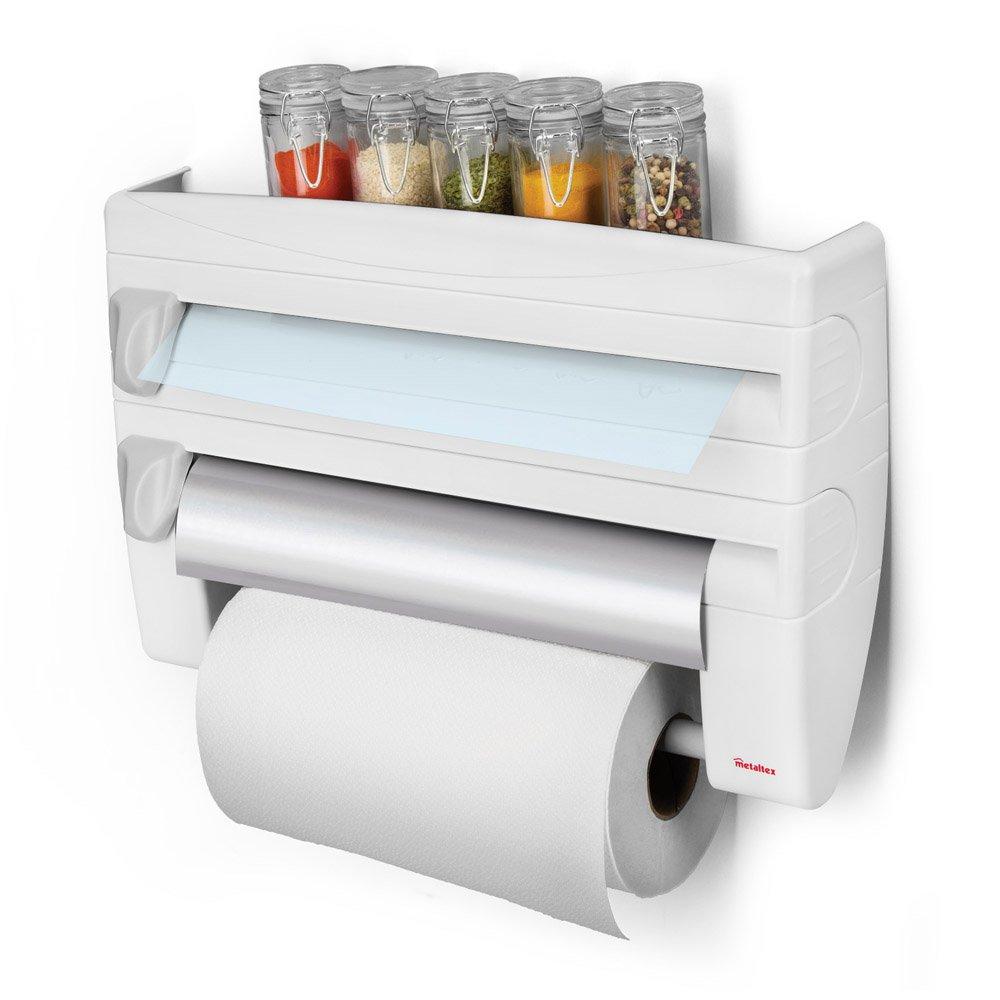 Metaltex Roll N Roll 4 In 1 Kitchen Roll Holder Dispenser White