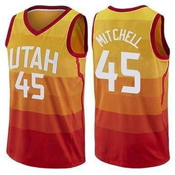 CCKWX Camisetas De Baloncesto para Hombre - NBA Utah Jazz # 45 Donovan Mitchell Camiseta De Baloncesto, Ropa Deportiva Unisex Tela Transpirable Sin ...