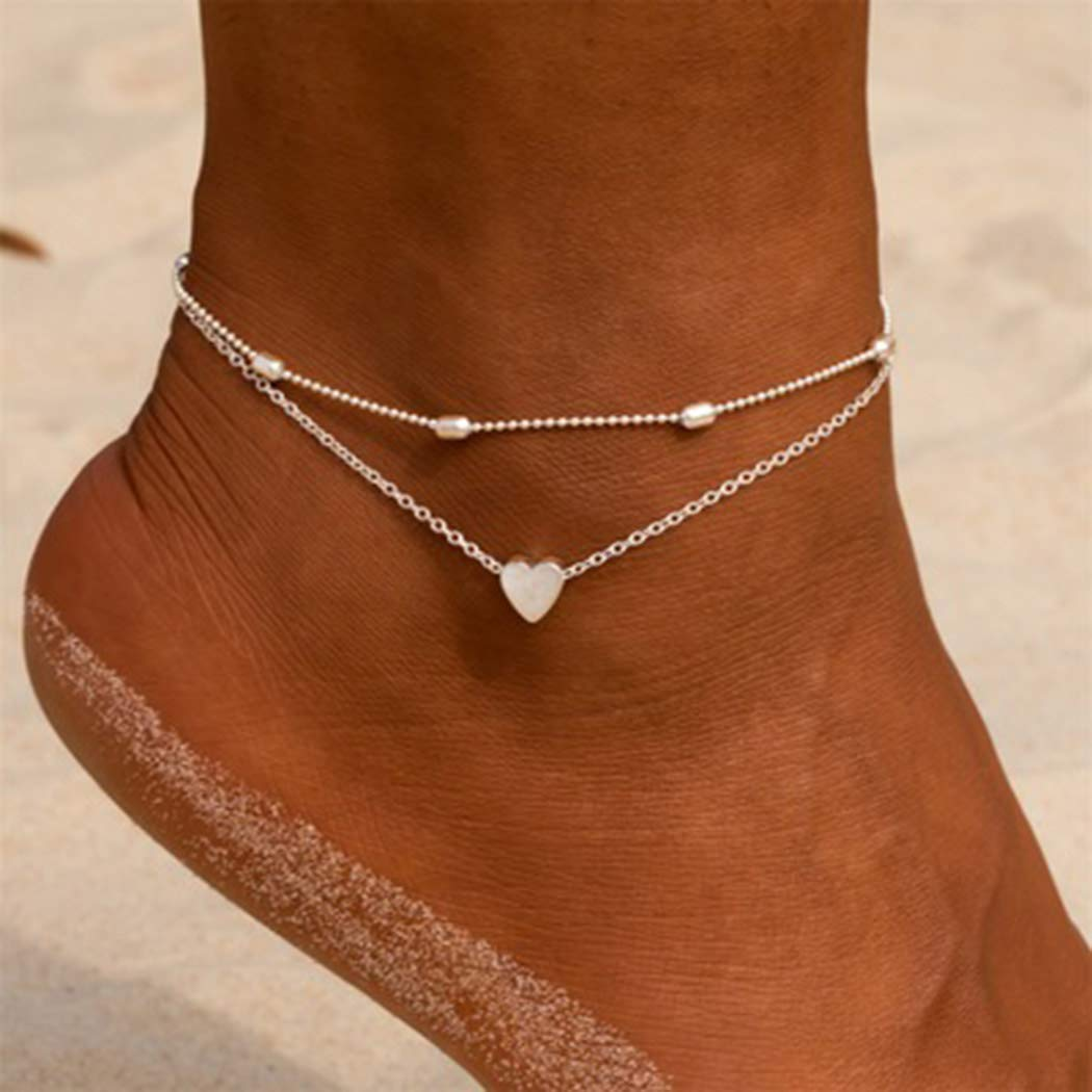 LittleB Layered Love Anklets Beaded Ankle Bracelet Beach Foot Chain Jewelry for Women and Girls (gold)