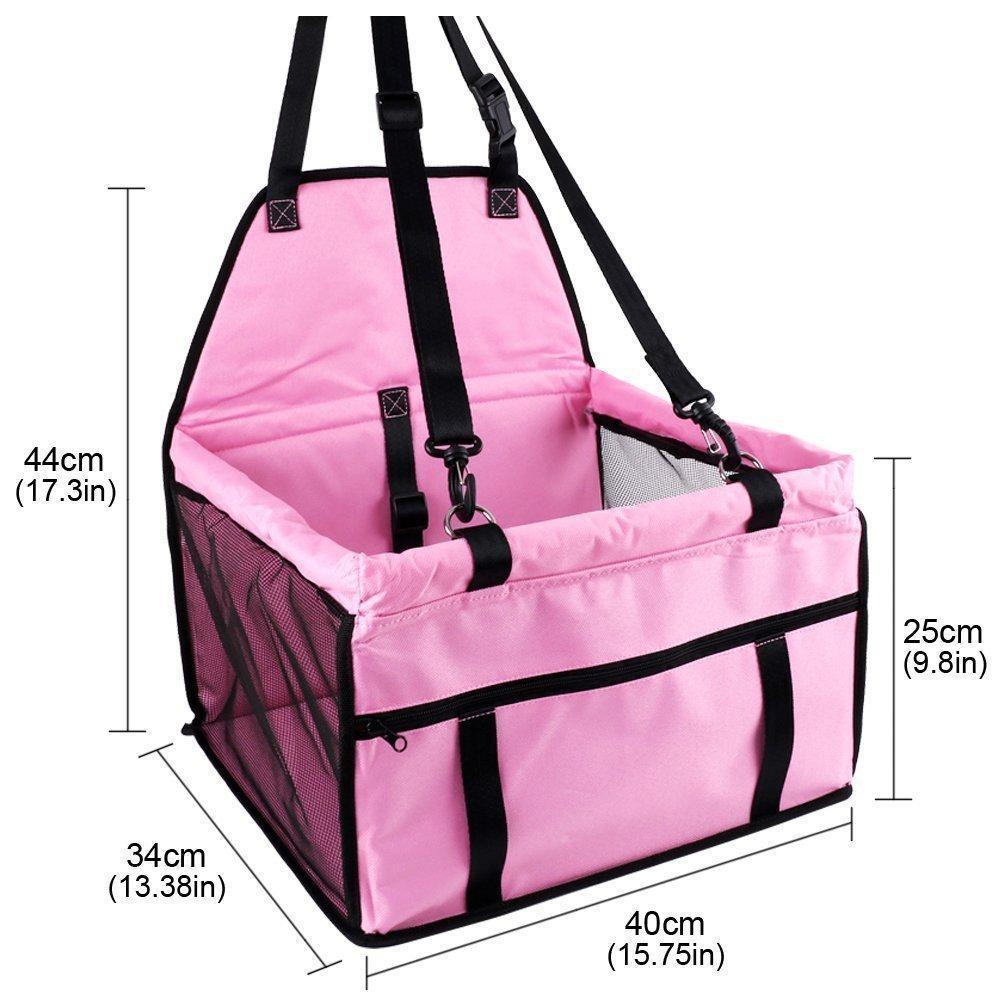 Ouguan/® 1x Rosa Pet Car Seat pieghevole e impermeabile Dog Car Seat Carrier con cintura /& Storage Bag per cani e gatti