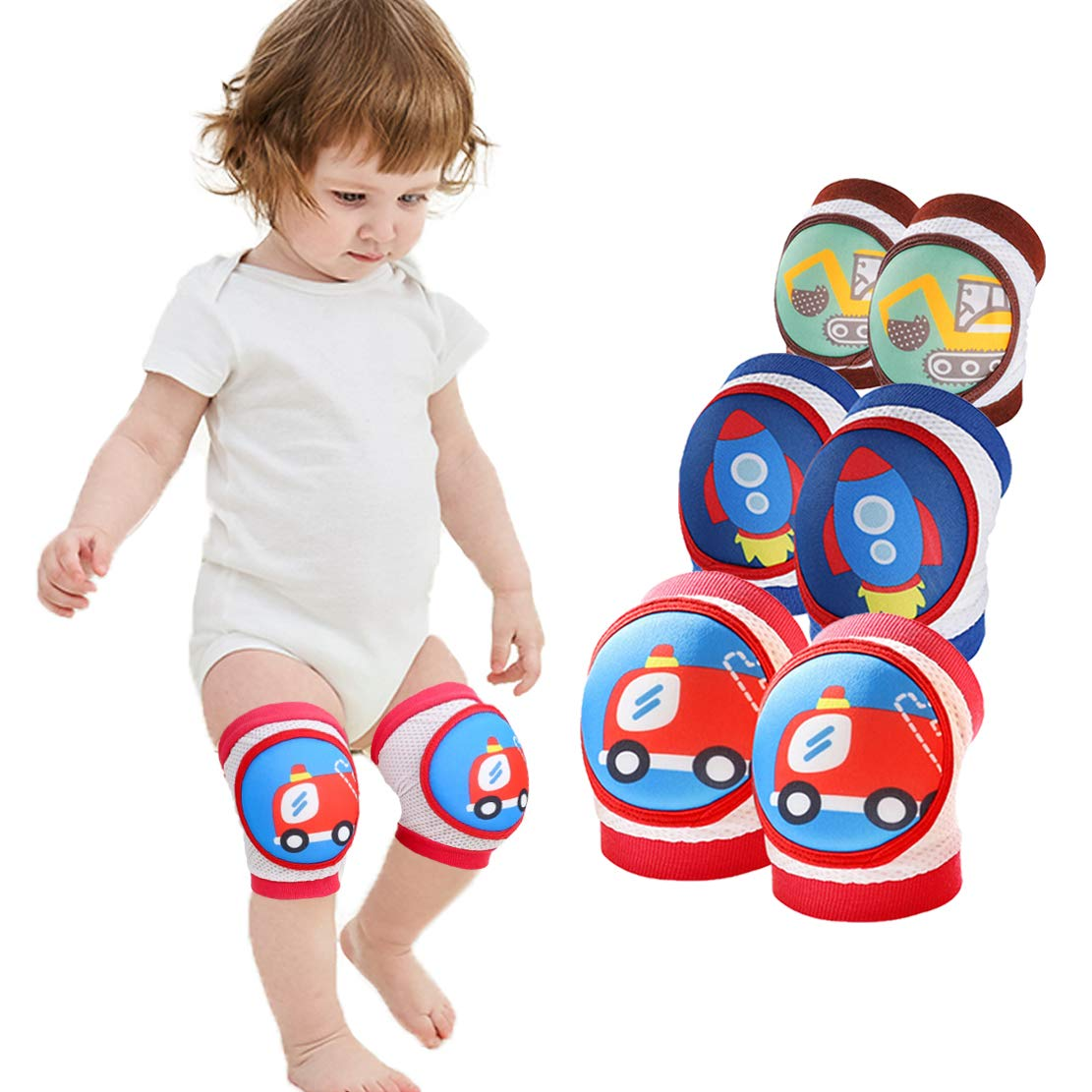 Baby Knee Pads for Crawling Knee Protector for Baby Toddler Anti Slip Knee Pads for Crawling and Safety (3 Pack (Rocket+Digger+Fire Engine)) by Organic Baby Fun Land