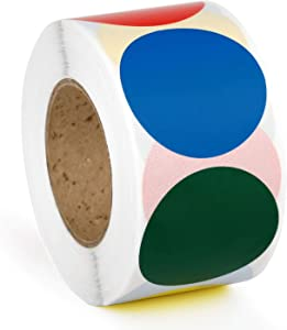 Methdic 1.5'' Round Color Coding Labels Dot Stickers 4 Colors 2 Rolls 500 Labels per Roll (Dotsticker-2set)