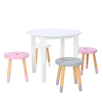 Max U0026 Lily White Wood Round Kid And Toddler Table + Stools (Pink, Pink