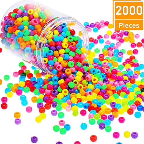 Blulu 1000 Pieces Pony Beads with Clear Plastic Jars, Multi-color Mix Plastic 6 x 9 mm Craft Pony Beads Handmade Jewelry Beads, Fun for Jewelry Bracelets Making