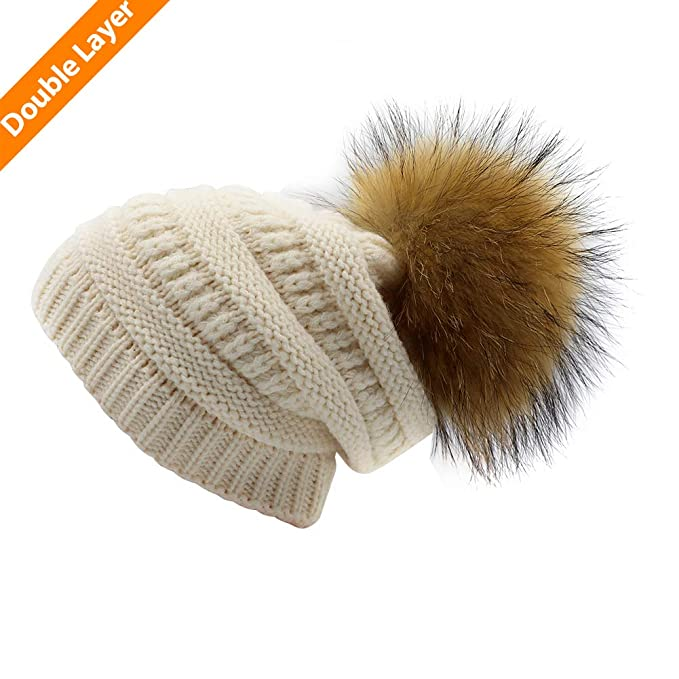83a2afc7c88 Kids Knit Winter Slouchy Pom Beanie Hats Oversized Chunky Stretchy Bobble Hat  Knitted Raccoon Faux Fur. Roll over image to zoom in