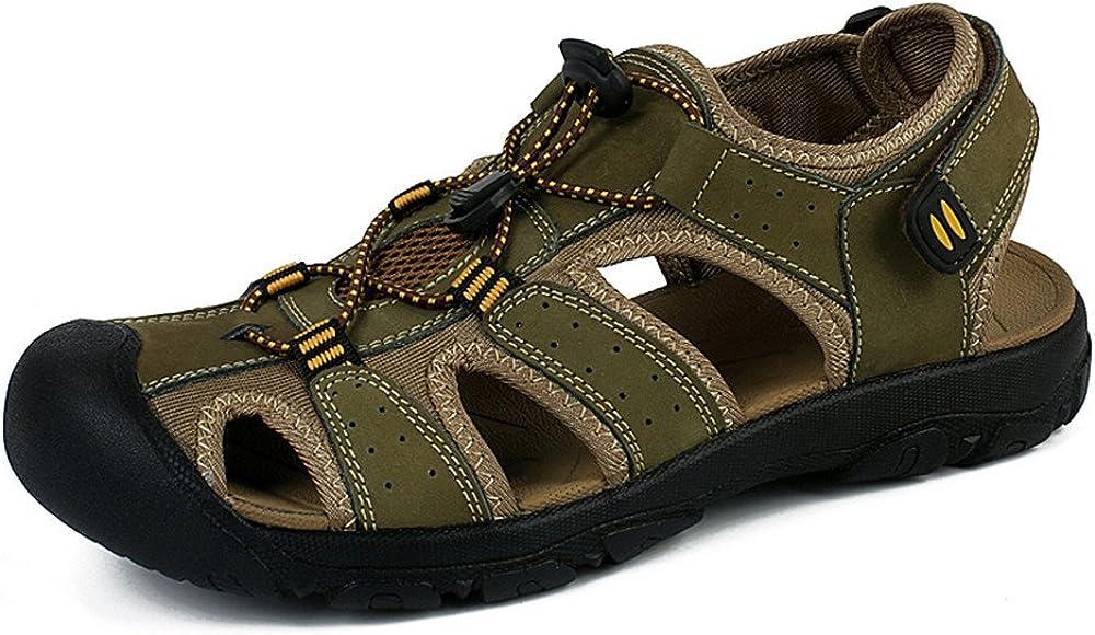 Sandalias Deportivas Verano Los Hombre, Senderismo Cuero Al Aire Libre Pescador Playa Zapatos Impermeables Playa Marrón Verde 38-48