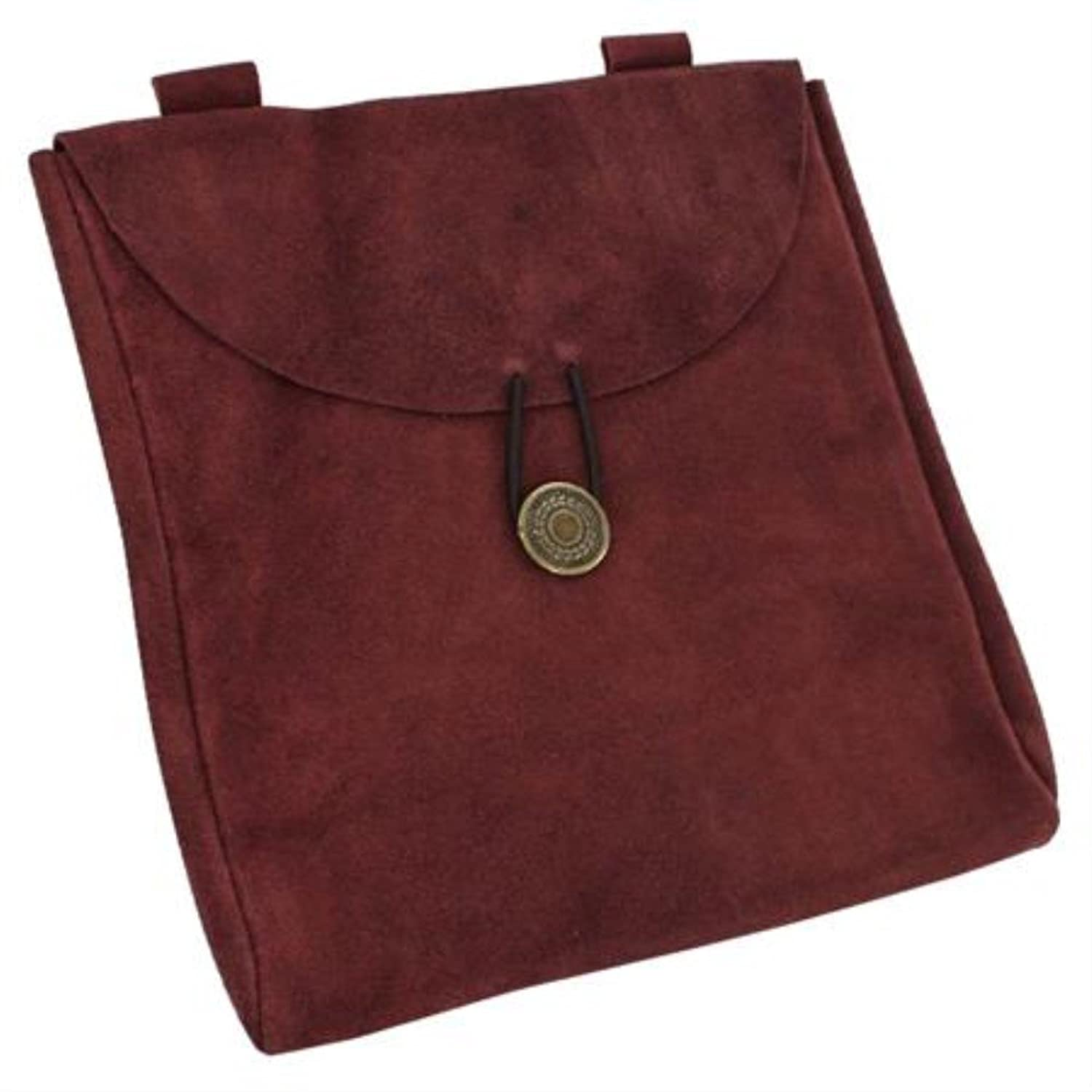 Deluxe Adult Costumes - Medieval Renaissance large dark red claret wine suede leather belt pouch