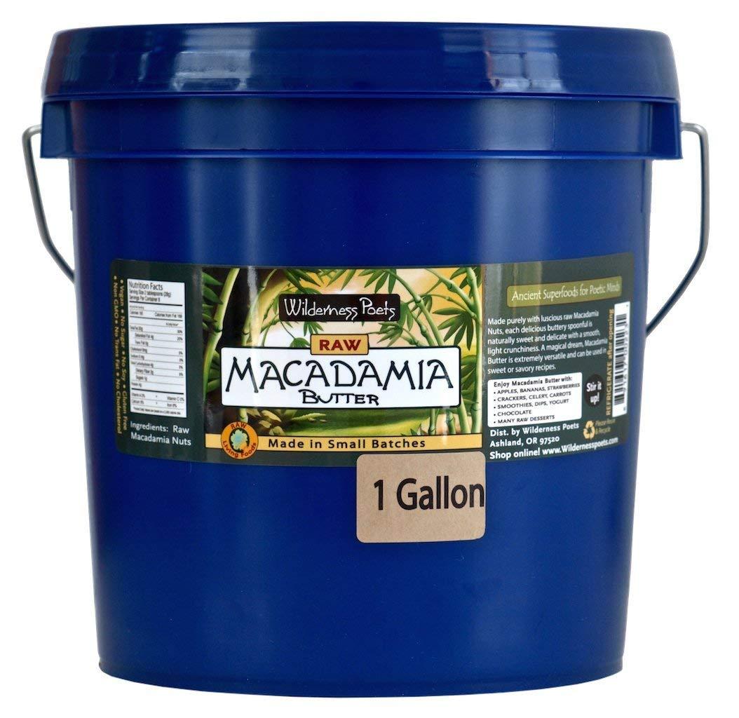 Wilderness Poets Raw Macadamia Butter -Bulk Macadamia Butter - 1 Gallon (128 Oz) approx. 8 lbs