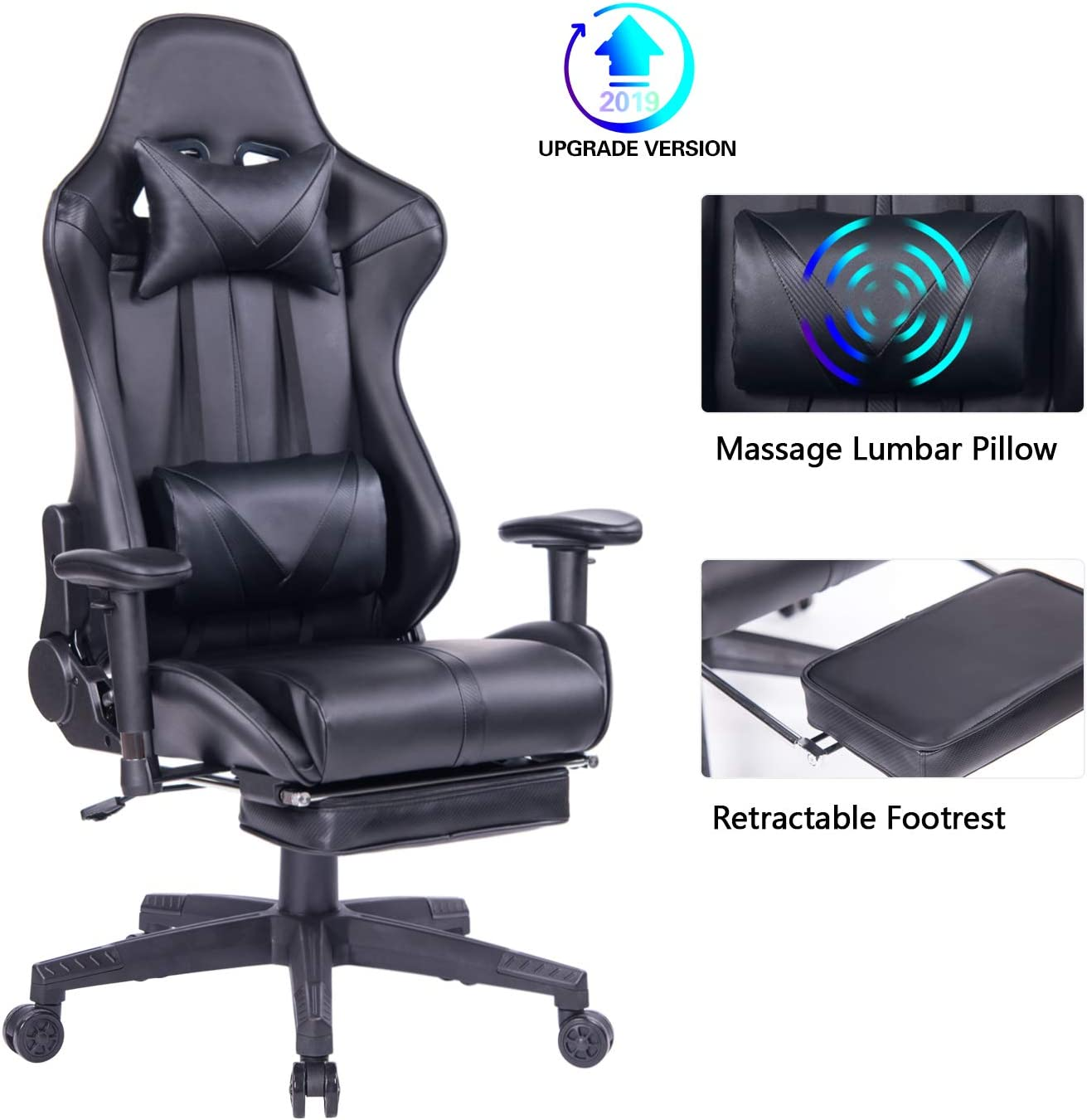 Blue Whale Gaming Chair PC Computer Chair with Footrest Ergonomic Video Game Chair High Back Racing Gamer Chair Reclining Leather Office Chair with ...