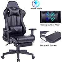Blue Whale Gaming Chair PC Computer Chair with Footrest Ergonomic Video Game Chair High Back Racing Gamer Chair Reclining Leather Office Chair with Headrest and Lumbar Support