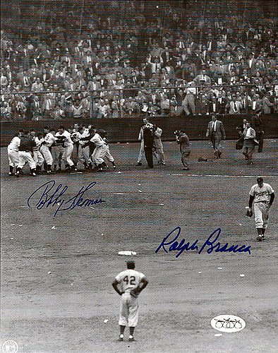 Bobby Thomson and Ralph Branca Signed 8x10 Photo The Shot Heard 'Round The World - JSA Authentic - Autographed MLB Photos