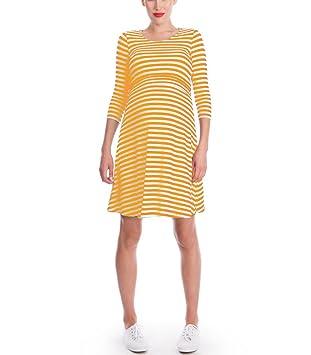 HUAN Las Mujeres Embarazadas Vestido Camisón de Lactancia Lactancia Camisón, Vestido de la Raya (