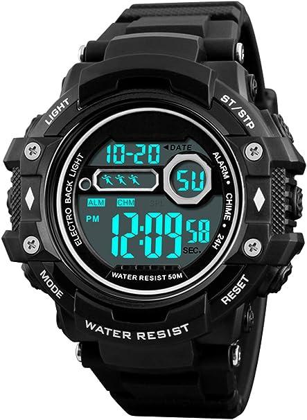 RSVOM Montre numérique pour Hommes, 50M imperméable Hommes Militaire Montres de Sport avec 1224 HeuresAlarmechronomètre, électronique Montres