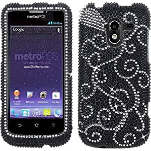 Black Silver White Bling Rhinestone Crystal Case Cover For ZTE Avid 4G with Free Pouch