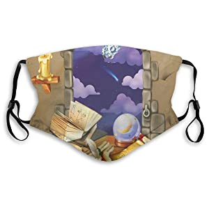 Comfortable Windproof mask,Medieval Ancient Castle Window With Crystal Ball Clouds Parchment,Printed Facial decorations for Unisex