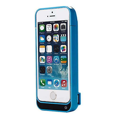 iPhone 5 5C SE 5S Battery Charger Case, Lenuo 4200mAh External Rechargeable Charging Power Pack Extended Backup Case Cover for iPhone 5/5C/5S/SE (Blue)