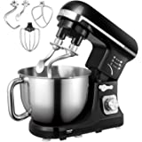 Stand Mixer, Aicok 5.5 Qt Dough Mixer with Double Dough Hooks, Whisk, Beater, Stainless Steel Bowl, 6 Speeds Tilt-Head Food M