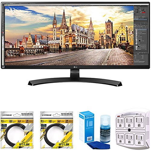 LG 29-Inch UltraWide FHD 2560 x 1080 IPS Monitor (29UM59A-P) with 2X 6ft High Speed HDMI Cable Black, Universal Screen Cleaner for LED TVs Large Bottle & SurgePro 6-Outlet Surge Adapter (Best 29 Inch Monitor)